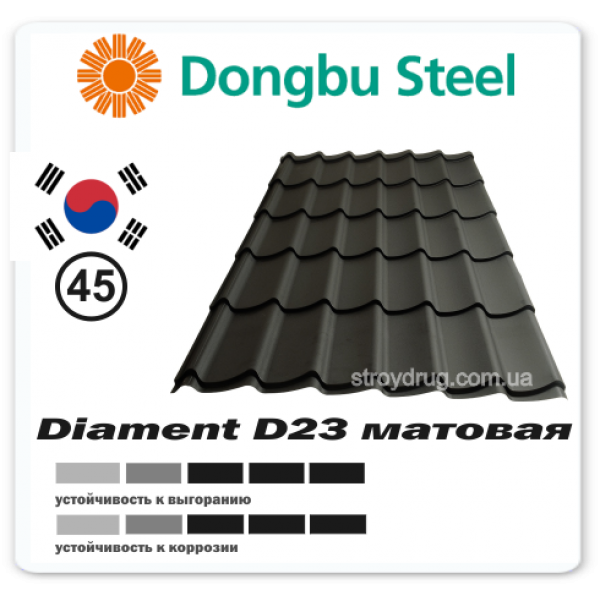 Металлочерепица Diament D23 матовая 045
